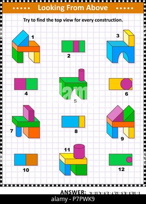 Educational math puzzle: Find the top view for each of the toy building blocks structures. Answer included. - Stock Image