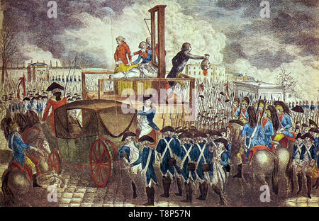 French Revolution. The Death of Louis XVI. Execution of Louis XVI on the Guillotine, copperplate engraving by Georg Heinrich Sieveking, 1793 - Stock Image