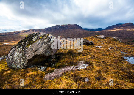 The wilderness of a glaciated landscape in the remote Coigach area of Scotland - Stock Image