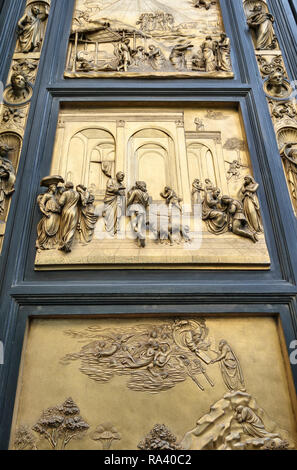Florence, Italy. Baptistery. Detail of East Doors (the 'Gates of Paradise', 1425-1452) by Lorenzo Ghiberti, showing Isaac with Esau and jacob - Stock Image