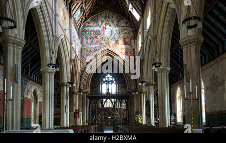 Interior of the church of the Holy Innocents, Highnam - Stock Image