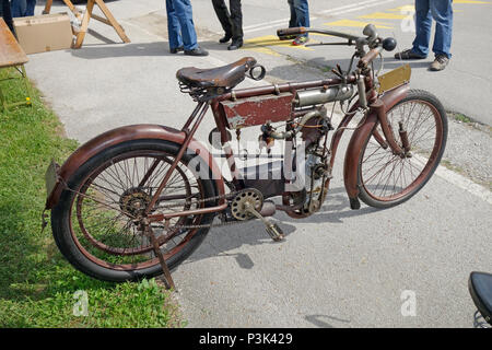 Old-timer motorbike Laurin & Klement BZ from 1903 manufactured in Kingdom of Bohemia, nowadays Czech Republic - Stock Image