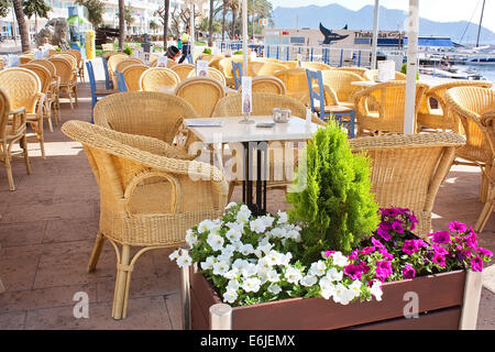 Restaurant at Cala Bona, Majorca - Stock Image