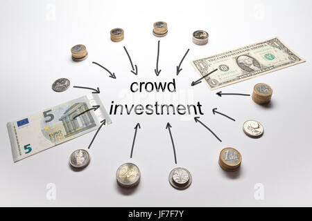 Crowd investment with european and american money, Euro, Dollar; Pound, Francs and Crowns in coins and banknotes - Stock Image