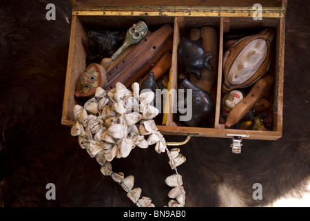 Mesoamerican Pre-Hispanic musical instruments inside a suitcase, in Mineral de Pozos, Nuevo Leon State, Mexico - Stock Image