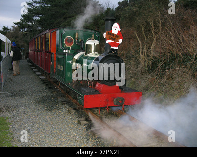 Steam train narrow gauge railway, Groudle Glen, Isle of Man. Christmas Santa train. Popular attraction, mince pies - Stock Image