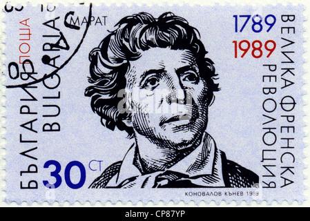 Historic postage stamp from Bulgaria, Historische Briefmarke, Jean Paul Marat; 200 Jahre französische Revolution, - Stock Image