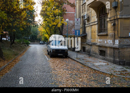 Autumn leaves on cobblestone street in Plovdiv, Bulgaria - Stock Image