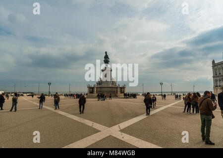 LISBON / PORTUGAL - FEBRUARY 17 2018: HISTORICAL SQUARE AND SCULPTURE IN LISBON - Stock Image