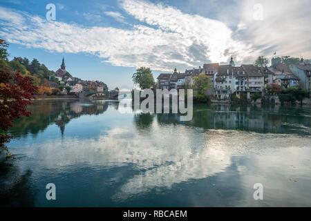 Laufenburg with river Rhein, Aargau, Switzerland - Stock Image