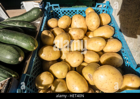 New potatoes on sale in an East London shop - Stock Image