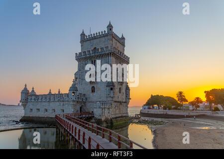 Tower of Belem at sunset, Lisbon, Portugal. - Stock Image