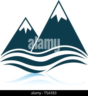 Snow peaks cliff on sea icon. Shadow reflection design. Vector illustration. - Stock Image