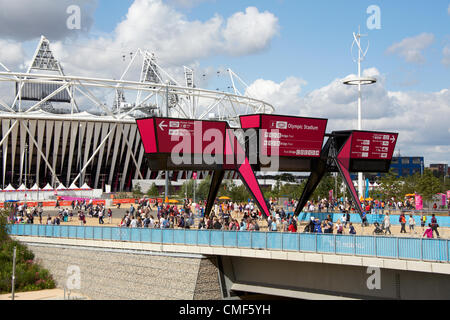 Athletics Stadium beyond Stratford Gate on a sunny day at Olympic Park, London 2012 Olympic Games site, Stratford - Stock Image