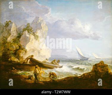 Thomas Gainsborough, Seashore with Fishermen, painting, c. 1727 - Stock Image