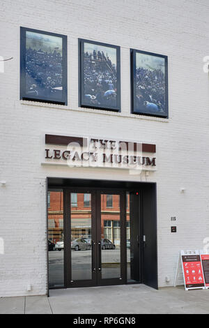 Front exterior of The Legacy Museum, a civil rights museum, explaining the civil rights movement in the US, in Montgomery Alabama, United States. - Stock Image