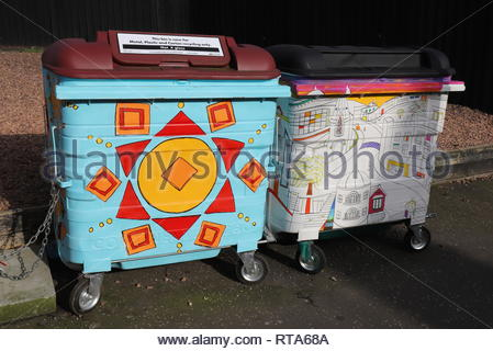 Waste of Space brightly painted waste and recycling bins Perth Road Dundee Scotland  February  2019 - Stock Image
