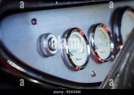 USA, Massachusetts, Cape Ann, Gloucester, classic cars, hot rod car instrument detail - Stock Image