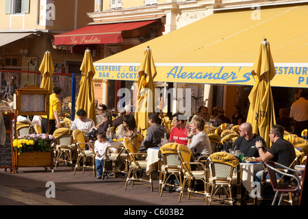 Les Ponchettes street Cafe, France, French Reviera, Nice, Cours de Saleya, - Stock Image