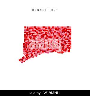 I Love Connecticut. Red and Pink Hearts Pattern Vector Map of Connecticut Isolated on White Background. - Stock Image