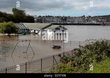 Local Dorset restaurant  and kids play area underwater after heavy rainfall in Weymouth - Stock Image