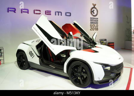 Greater Noida, India. 14th February 2018. Tata Motors showcase their Racemo sports coupe at Auto Expo 2018 in Greater - Stock Image