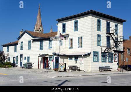 Historic Washington House Museum and Ice Cream Parlor, Two Rivers, Wisconsin Home of original Ice Cream Sundae - Stock Image