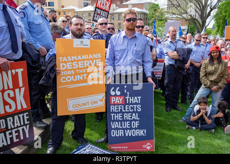 Public servants, prison officers, teachers, nurses and health workers demonstarte for pay rises outside Prliament House in Hobart, Tasmania - Stock Image