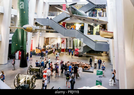 London England United Kingdom Great Britain Southwark Imperial War Museum military war weapons archives inside interior atrium exhibit weapons guns ai - Stock Image