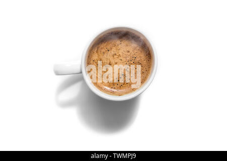 White coffee cup top view isolated on white with shadow - Stock Image