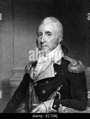 John Brooks (1752-1825) on engraving from 1835. Doctor, military officer and politician from Massachusetts. - Stock Image