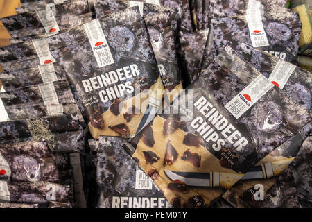 Finnish Lapland food: bags of Reindeer Chips; Reindeer Crisps for sale in Helsinki Finland. - Stock Image