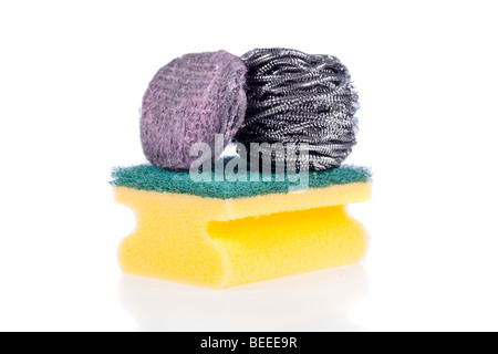 A Scouring Pad Sponge, a Steel Wool Soap Pad and a Stainless Steel Pad isolated on a white background - Stock Image