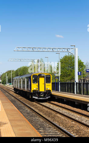 Northern Rail Sprinter DMU 150275 two coach local passenger train passing through Moses Gate railway station, Farnworth, Bolton, bound for Manchester. - Stock Image