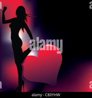 sexy girl silhouette with abstract background - Stock Image