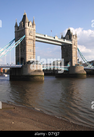 Tower Bridge London view from the north side of the Thames - Stock Image