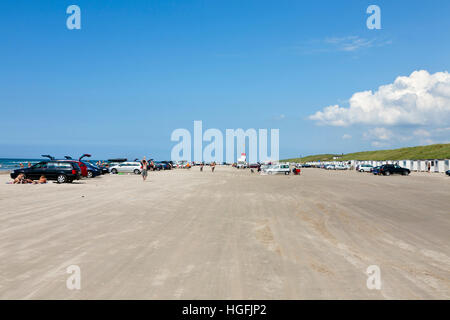 The famous beach at Blokhus in the north-western part of Jutland, Denmark. Cars and vehicles are allowed on this - Stock Image