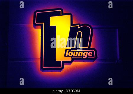 Europe, Germany, Germany, Berlin, stroke, neon light, neon sign, 11N lounge - Stock Image