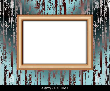 Blank frame on a colored wall lighting spotlights - Stock Image