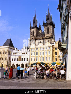 9076. Old Town Square, Cafe and Tyn Church, Prague,  Czech Republic, Europe - Stock Image