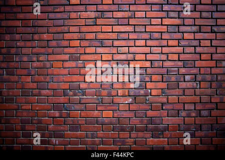 Red brick wall straight on - Stock Image