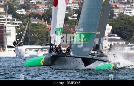 Sydney, Australia. 16th Feb, 2019. Australian SailGP team competes during the SailGP event at the harbor in Sydney, Australia, Feb. 16, 2019. Credit: Bai Xuefei/Xinhua/Alamy Live News - Stock Image