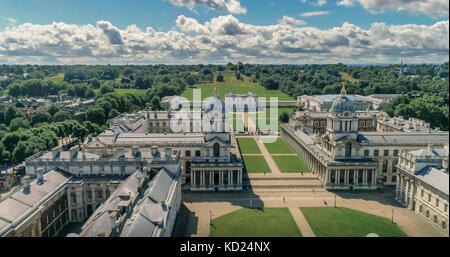 Aerial view of the Old Royal Naval College in Greenwich, London - Stock Image