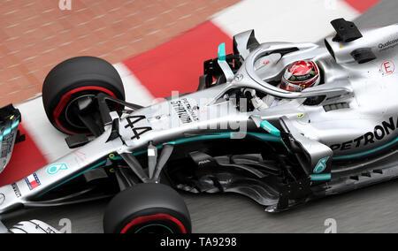 Mercedes Lewis Hamilton during first practice at the Circuit de Monaco, Monaco. - Stock Image