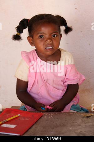 Malagasy Girl from Ambalavao, South Madagascar, Africa. - Stock Image