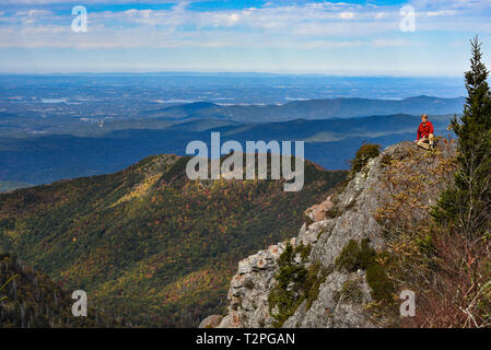 Spectacular mountain range vistas from Charlies Bunion, Appalachian Trail, Great Smoky Mountains National Park, outside Gatlinburg, Tennessee, USA. - Stock Image