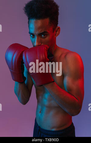 Portrait of brutal shirtless african american sportsman poising in boxing gloves isolated over violet background - Stock Image