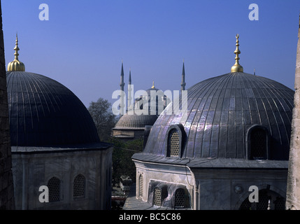 View from Aya Sofya towards Sultanahmet Camii (the Blue Mosque) - Stock Image
