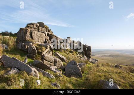 Sharp tor Dartmoor national park Devon Uk - Stock Image