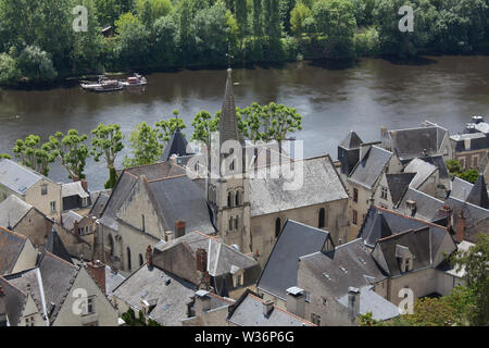Chinon, France. Picturesque aerial view of Chinon with the tower of Eglise Saint Maurice in the centre of the image, and the River Vienne in the backg - Stock Image